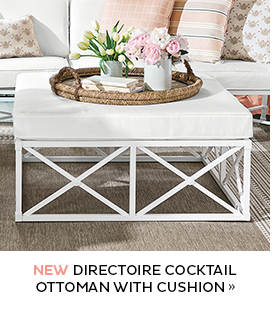 Directoire Cocktail Ottoman with Cushion